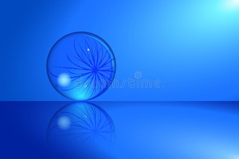 Хрустальный шар с предпосылкой отражения иллюстрация вектора