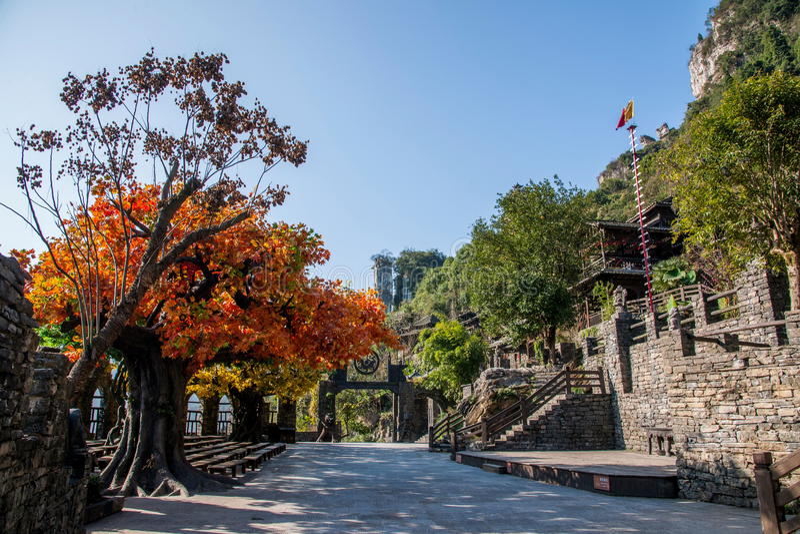 Хубэй Yiling Река Янцзы Three Gorges Dengying Xia в коттедже Wang ба ` людей Three Gorges ` стоковые изображения rf