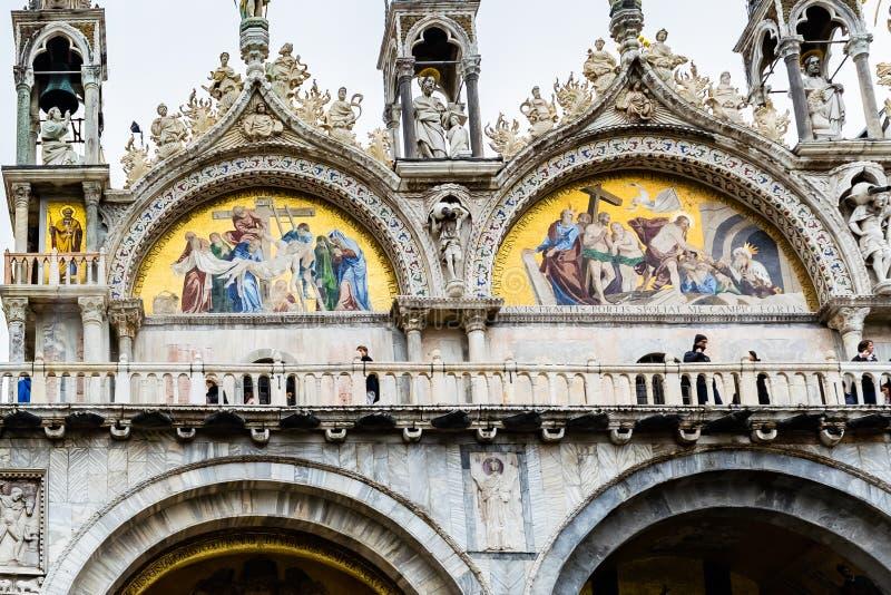 Художественное произведение мозаики на соборе базилики Сан Marco патриархальном St Mark в метках St Сан Marco аркады придает квад стоковое изображение rf
