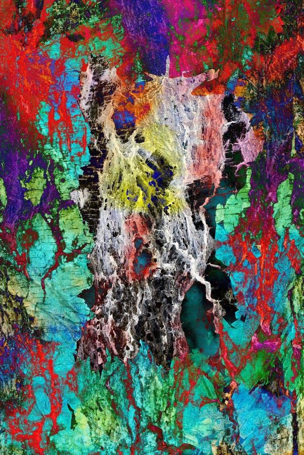 Художественное произведение мультимедиа, слой конспекта красочный художественный покрашенный в красной, зеленой цветовой палитре  иллюстрация вектора