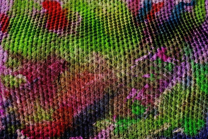 Художественное произведение мультимедиа, слой конспекта красочный художественный покрашенный в темном - красная и зеленая цветова стоковое фото rf