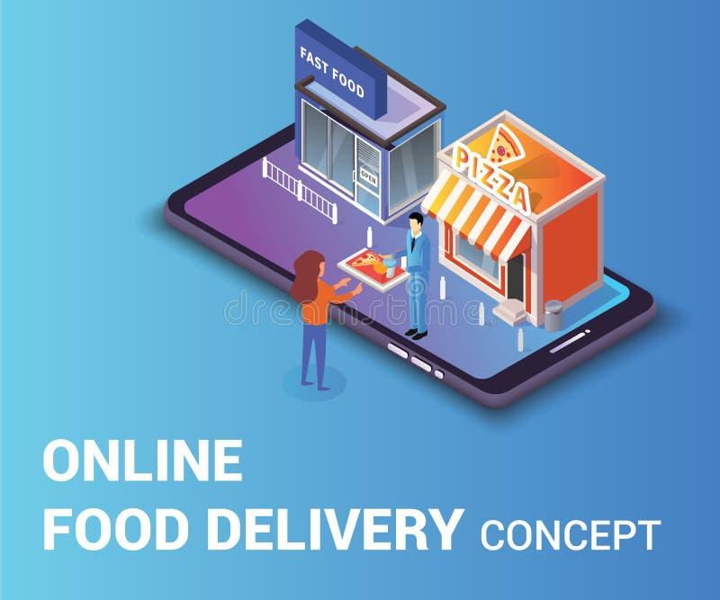 Художественное произведение онлайн концепции доставки еды равновеликое где человек дает женщинам поднос еды бесплатная иллюстрация