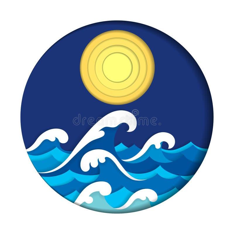 Художественное произведение отрезка бумаги моря и луны бесплатная иллюстрация