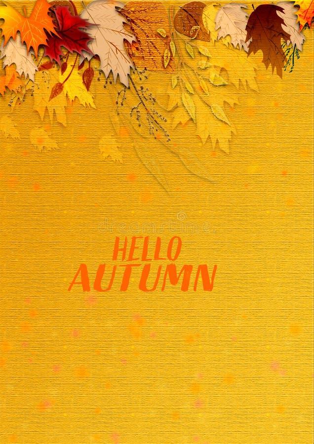 Художественное произведение текстурированное осенью современное grungy поверхностная предпосылка текстуры иллюстрация вектора