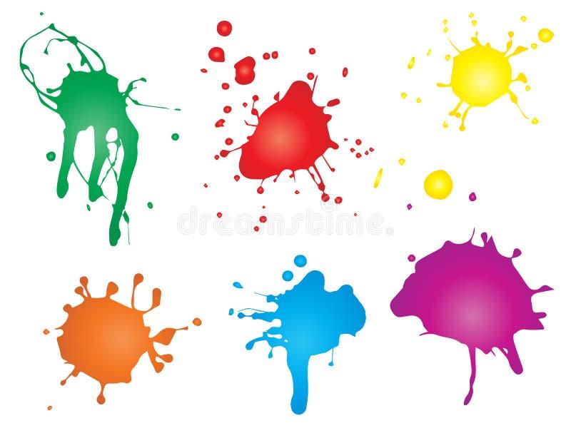 Художественное grungy падение краски, ручной работы творческий выплеск или ход splatter иллюстрация штока