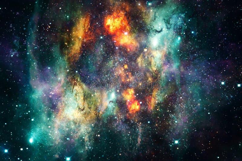 Художественные абстрактные вспышки сверхновой звезды в пестротканой накаляя предпосылке галактики межзвёздного облака иллюстрация вектора