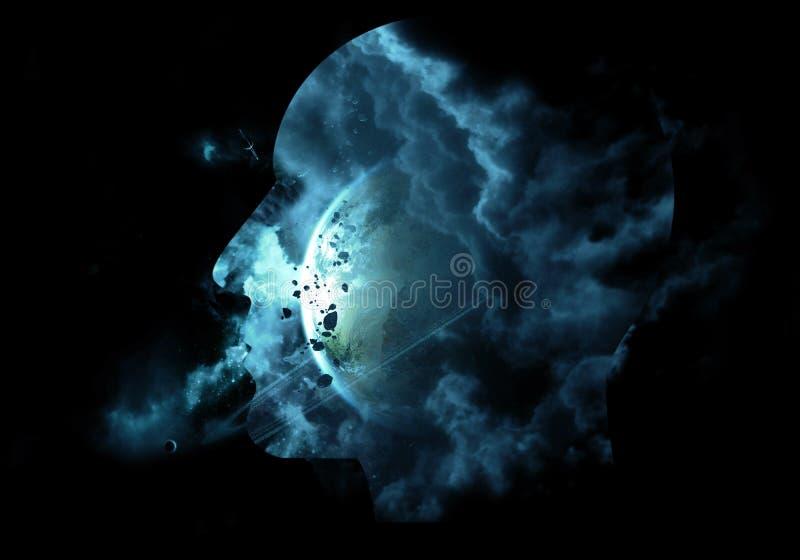Художественный компьютер 3d произвел иллюстрацию интерфейса галактического конспекта человеческого искусственного умного в черной иллюстрация штока