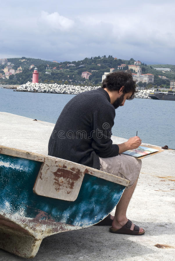 Художник крася изображение, outdoors стоковые фотографии rf