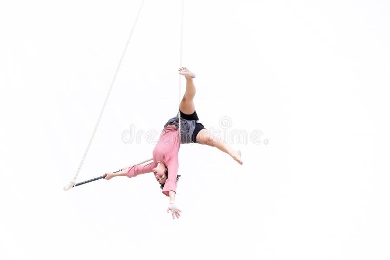 Художник Trapeze повиснул вверх ногами во время ее представления стоковое фото rf