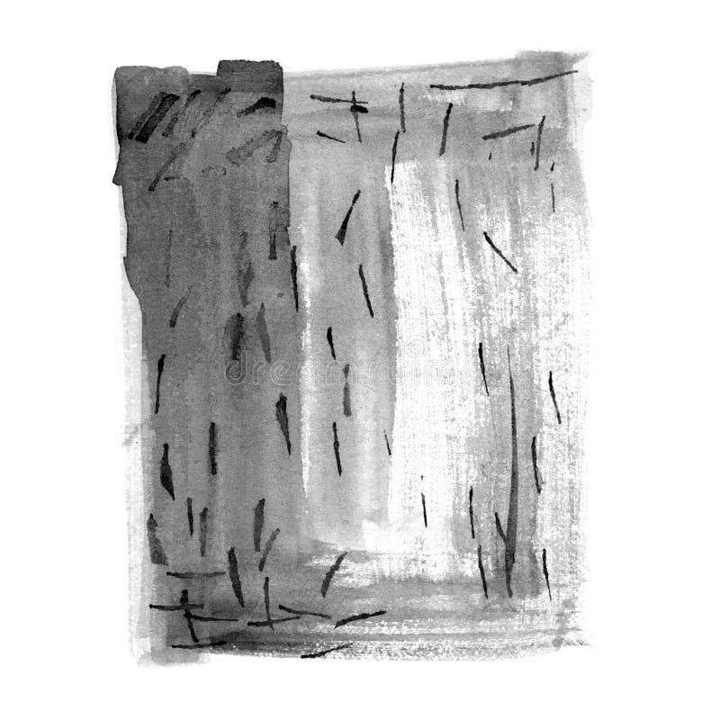 Художническая monochrome рука акварели покрасила иллюстрацию в китайском стиле Ходы Minimalistic черные и серые щетки иллюстрация штока