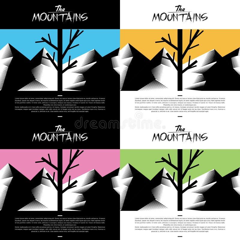 Художнические обои горы с цветом дерева теплым иллюстрация штока
