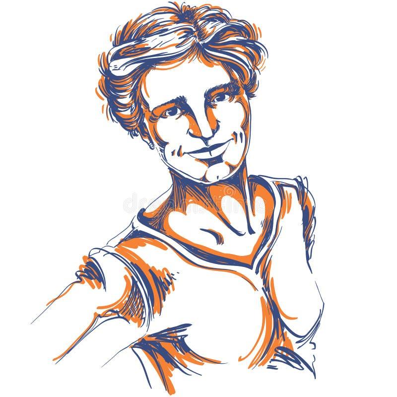 Художническое нарисованное вручную изображение вектора, портрет чувствительного добросердечного styl бесплатная иллюстрация
