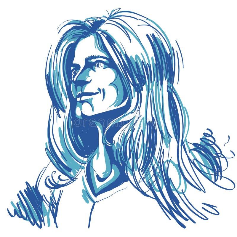 Художническое нарисованное вручную изображение, черно-белый портрет чувствительного иллюстрация штока