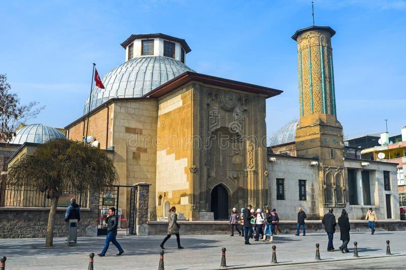 Худенький минарет Madrasah в Konya стоковые фото