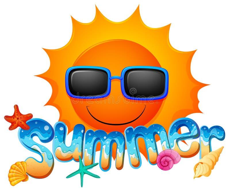 Художественное произведение лета с солнцем иллюстрация вектора