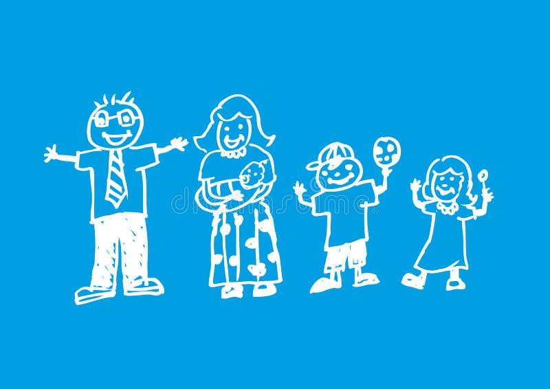 Художественное произведение doodle радостной семьи Иллюстрация стиля мела бесплатная иллюстрация
