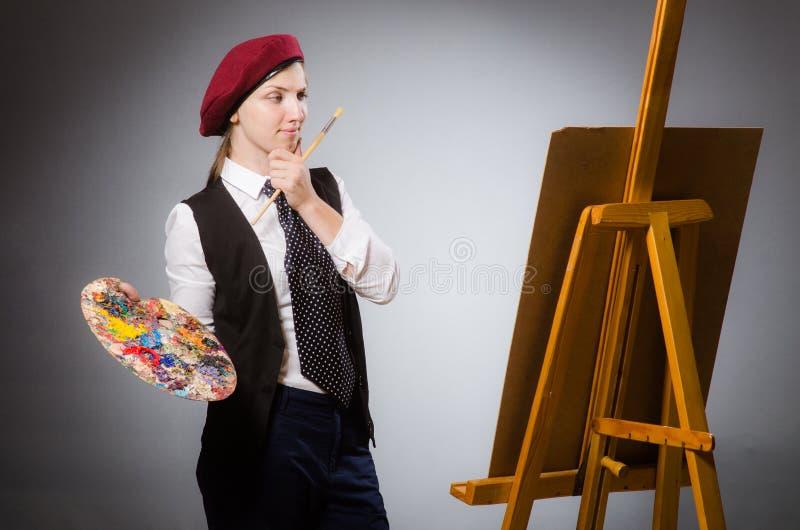 Художник женщины в концепции искусства стоковое фото