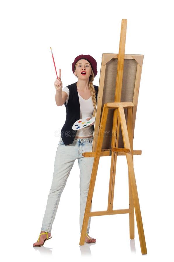 Художник женщины на белизне стоковая фотография rf