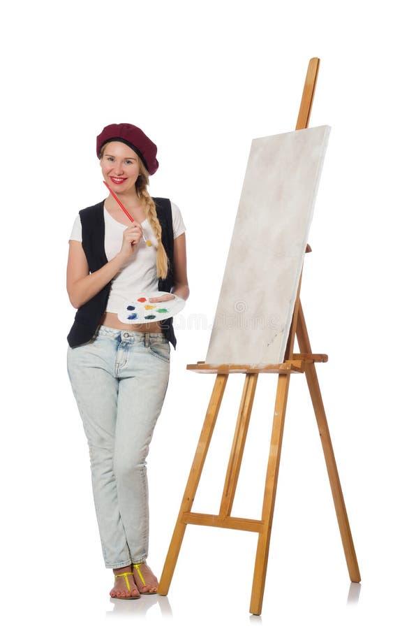 Художник женщины на белизне стоковое изображение rf