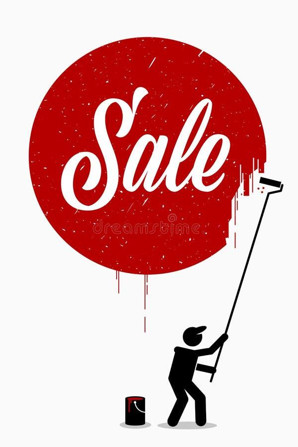Художник крася продажу слова на стене с красным кругом вокруг его бесплатная иллюстрация