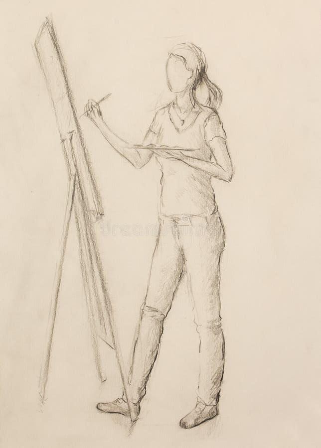 Художник молодой женщины чертежа держа палитру с красками масла и крася на холсте в студии искусства иллюстрация штока