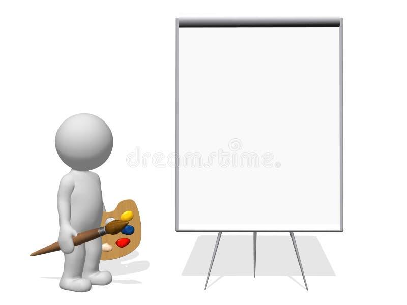 художник характера 3d с краской щетки и пустым flipchart стоковые фотографии rf