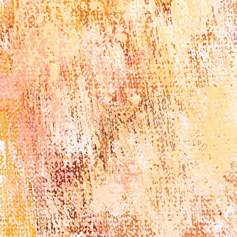 Художническая акриловая рука покрасила предпосылку холста в оранжевых цветах стоковое фото