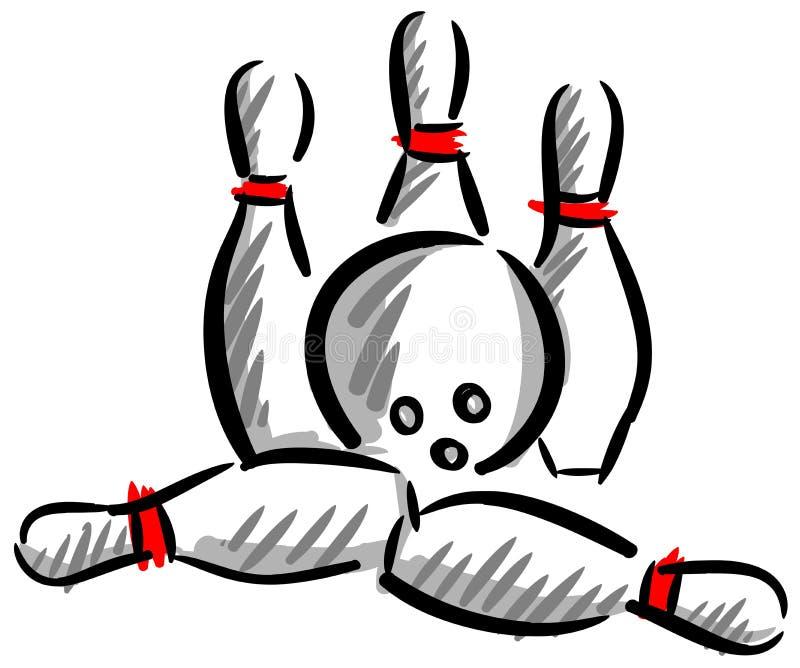 Художническая изолированная иллюстрация забастовки боулинга иллюстрация вектора