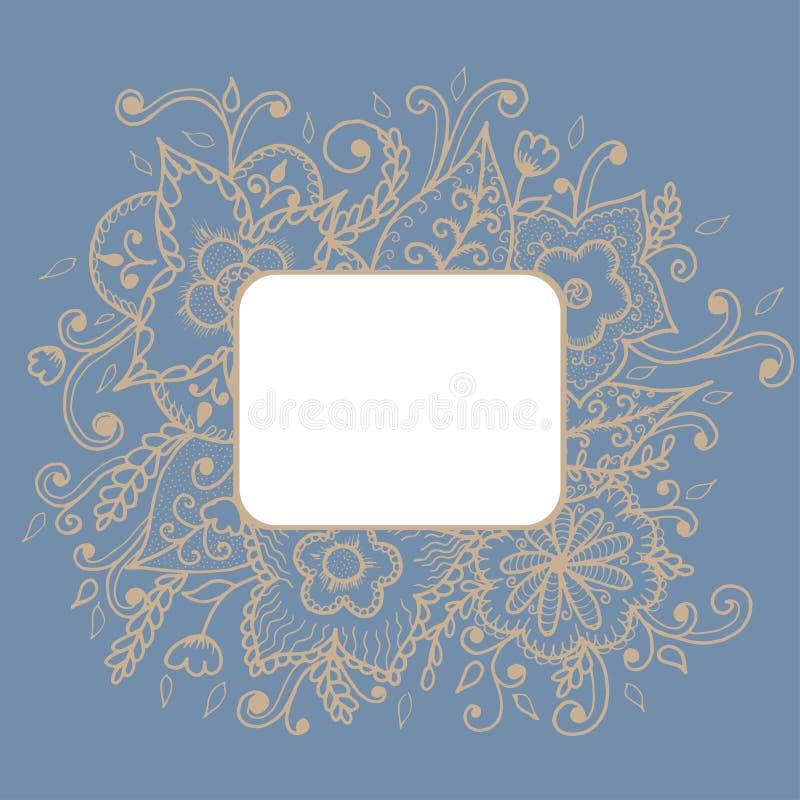 Художническая яркая карточка с цветочным узором иллюстрация вектора