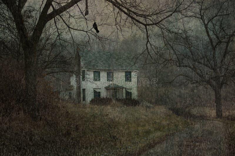 Художнический винтажный старый сельский дом стиля grunge иллюстрация штока