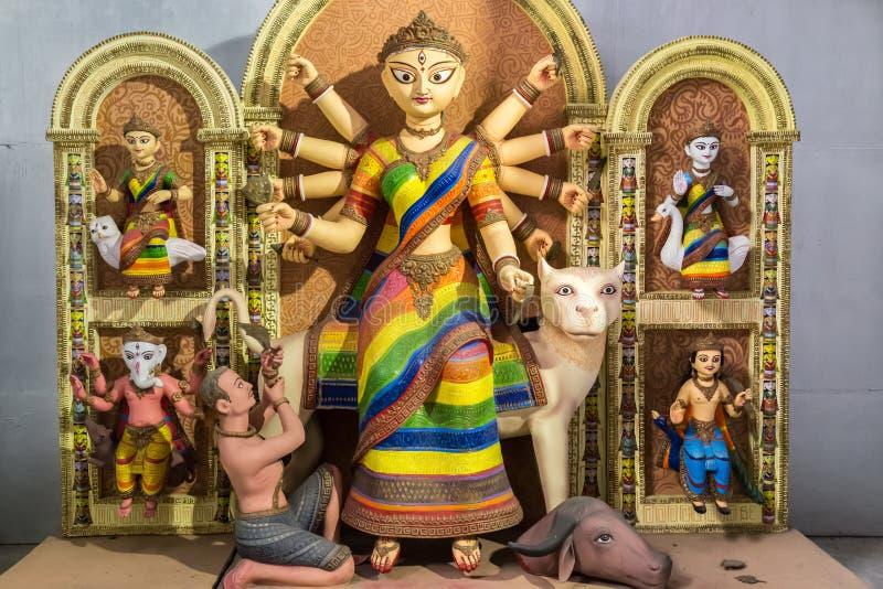 Художнический индусский идол Durga богини созданный от глины стоковое фото