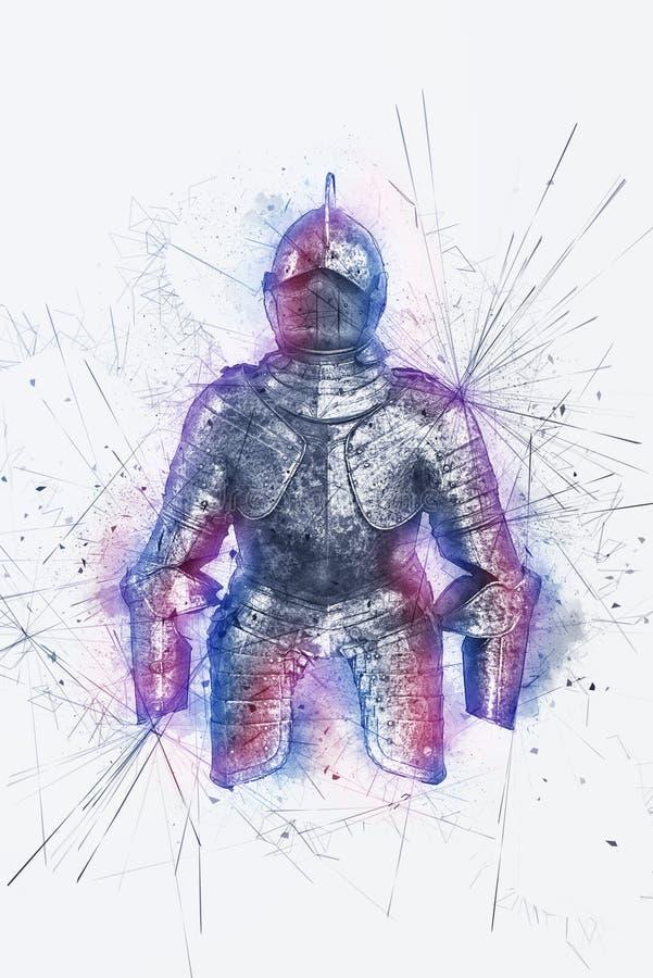 Художнический портрет рыцаря с splatter краски иллюстрация вектора