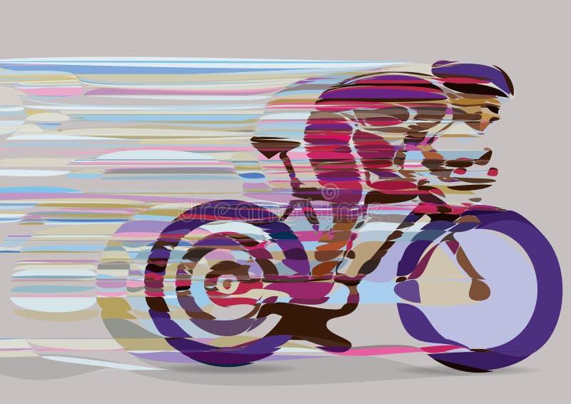 Художнический стилизованный велосипедист гонок в движении бесплатная иллюстрация