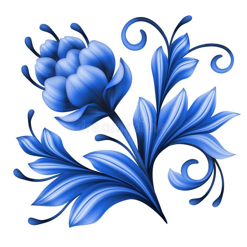 Художнический флористический элемент, абстрактное народное искусство gzhel, голубая иллюстрация цветка иллюстрация вектора
