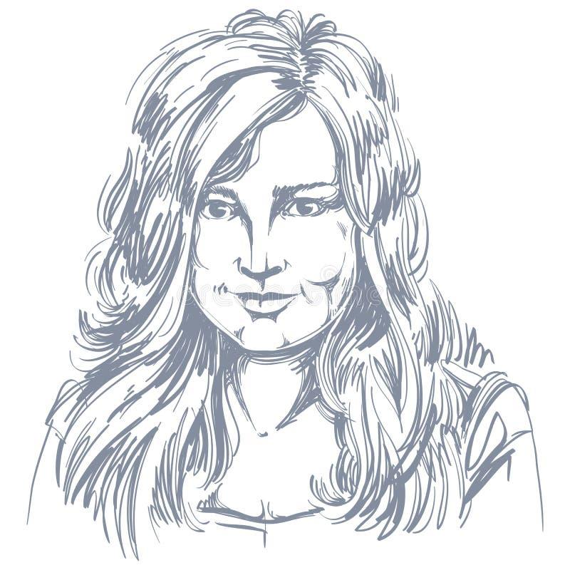 Художническое нарисованное вручную изображение вектора, черно-белый портрет de иллюстрация штока