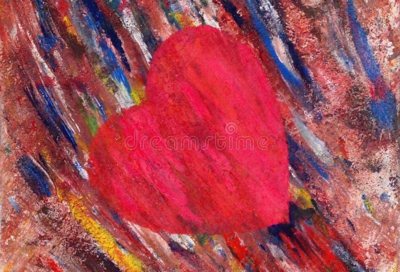 Художническое, нарисованное сердце иллюстрация вектора