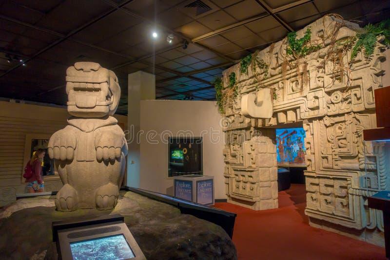 ХЬЮСТОН, США - 12-ОЕ ЯНВАРЯ 2017: Индийское искусство с структурами Майя зоны внутри Национального музея естественной науки стоковое изображение rf