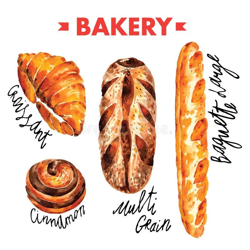 Хлебопекарня в комплекте иллюстрации вектора акварели стоковое изображение rf