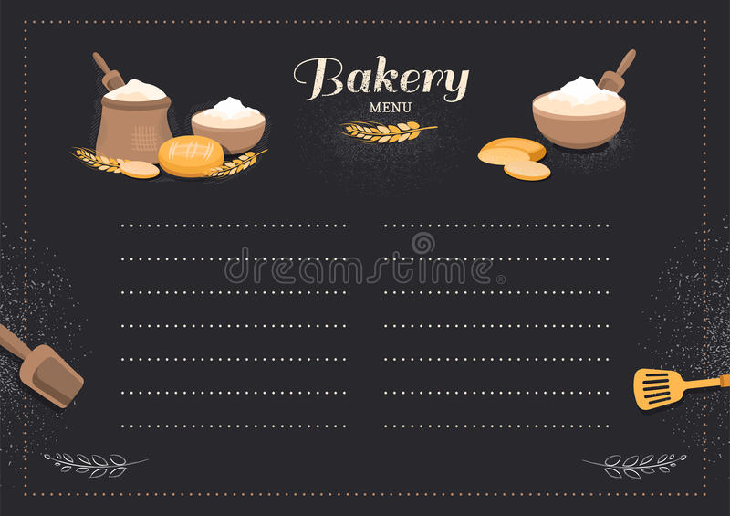 Хлебопекарня кафа шаблона меню иллюстрация штока