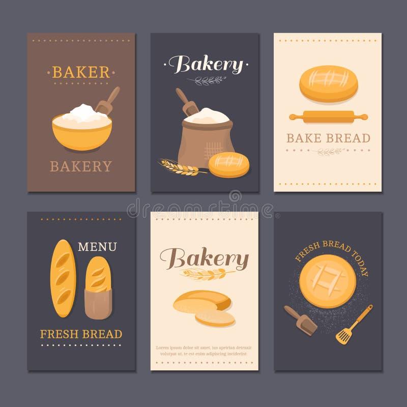 Хлебопекарня магазина карточек вектора бесплатная иллюстрация