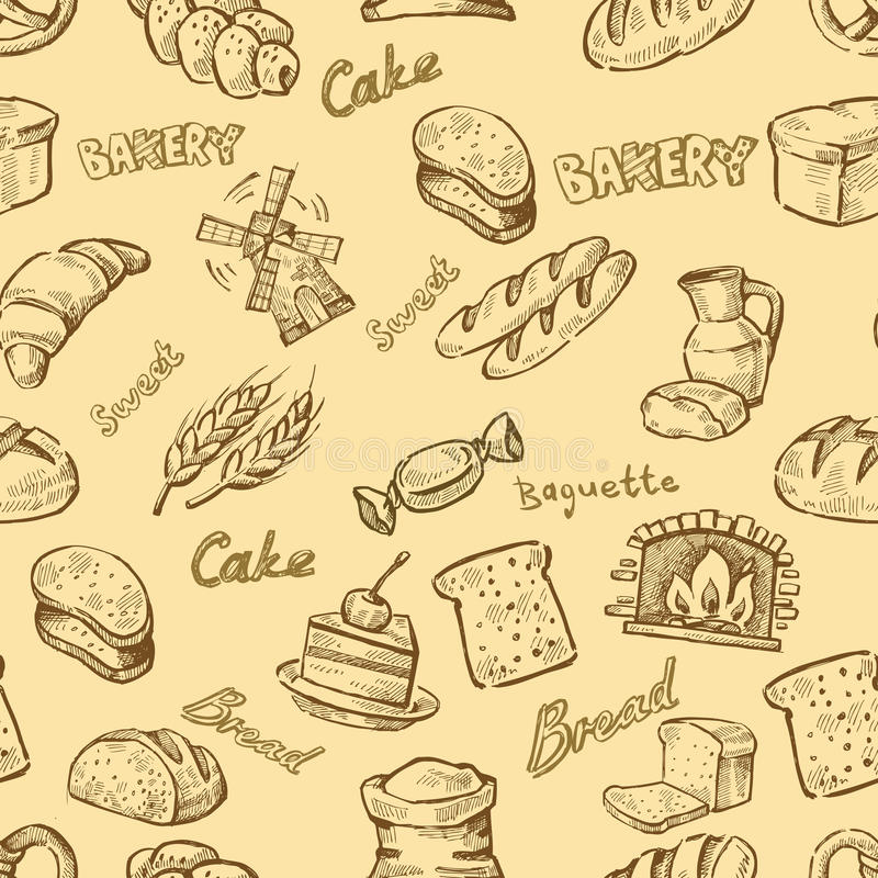 Хлебопекарня нарисованная рукой иллюстрация вектора