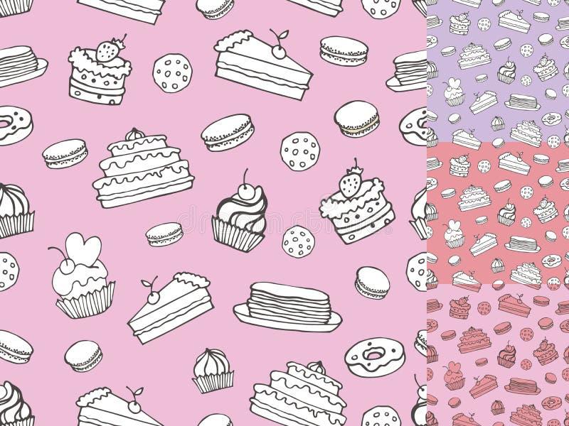 Хлебопекарня Doodle, картина тортов безшовная Винтажный линейный комплект бесплатная иллюстрация