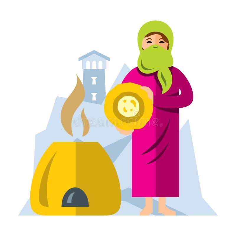 Хлеб выпечки женщины вектора мусульманский арабский Иллюстрация шаржа плоского стиля красочная иллюстрация вектора