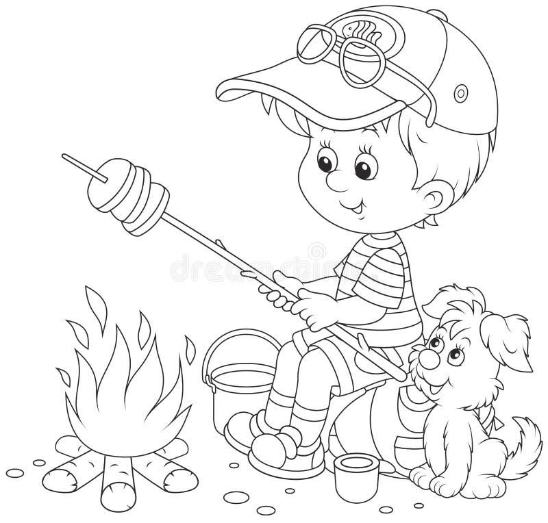 хлеб жарки Мальчик-разведчика на лагерном костере бесплатная иллюстрация