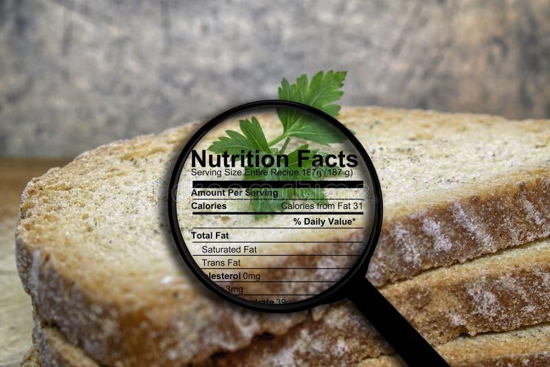 Хлеб и факты питания стоковые изображения