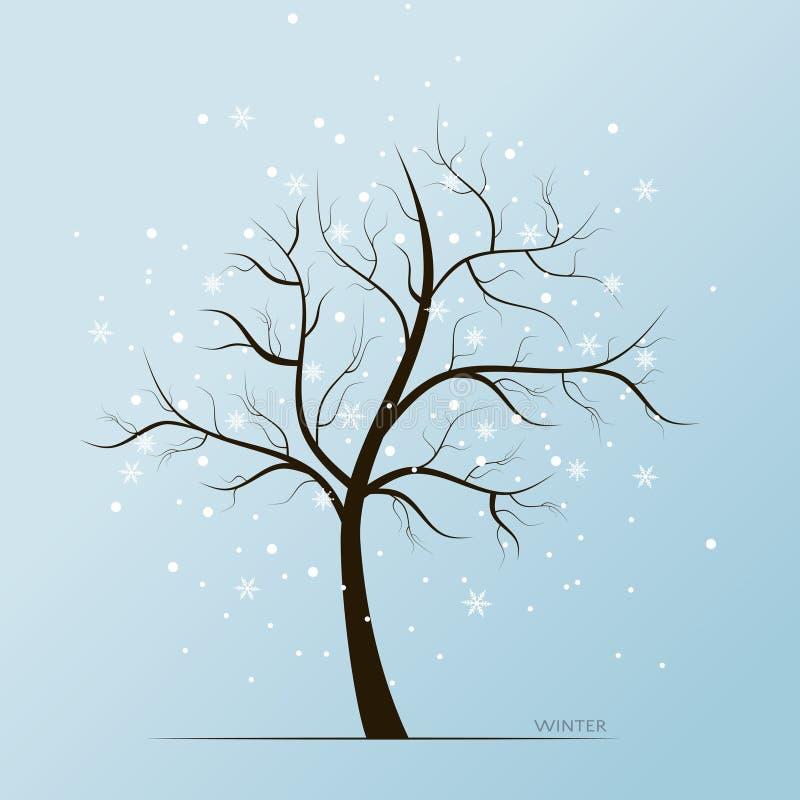 Хлопья дерева и снега зимы иллюстрация вектора