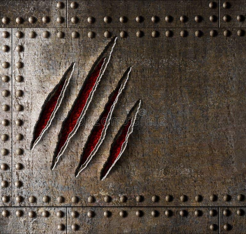Царапины когтя на стене металла панцыря стоковая фотография rf