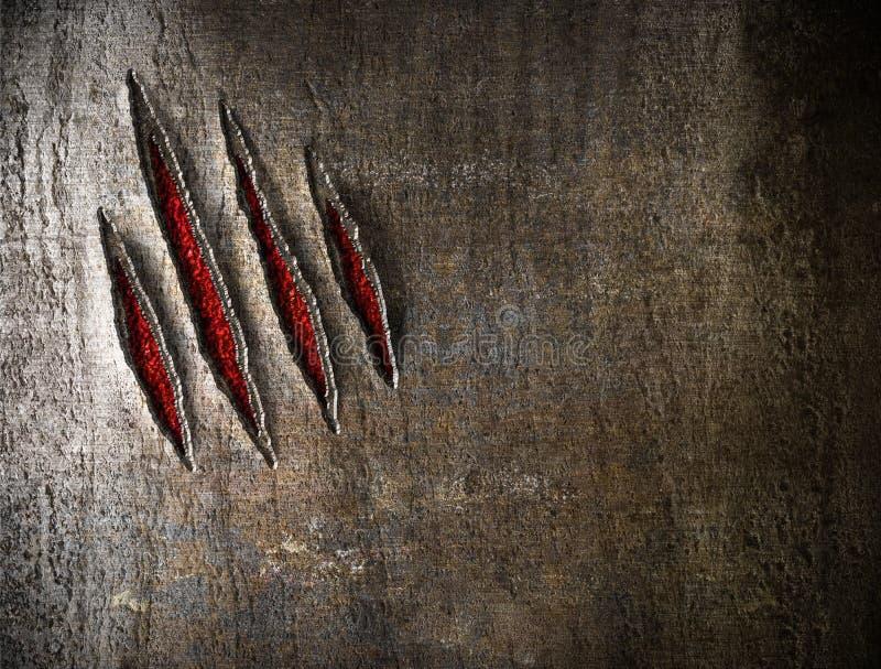 Царапины когтя на wetal стене стоковое изображение