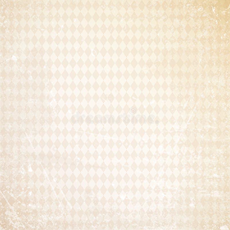 Царапины Oktoberfest предпосылки старые бумажные с прямым бежом ромбовидного узора иллюстрация вектора