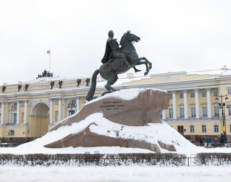 Царь Питер первый Санкт-Петербург памятника стоковая фотография rf